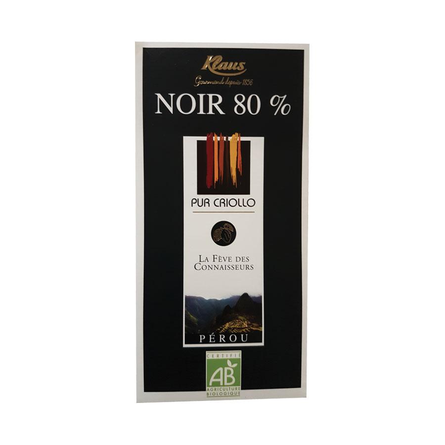 CHOCOLAT NOIR PEROU 80% 100G