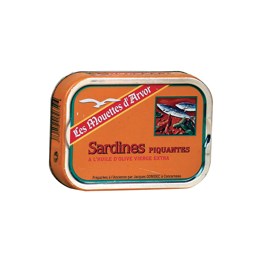 SARDINES PIQUANTES A L'HUILE D'OLIVE VIERGE EXTRA 1/6 115G